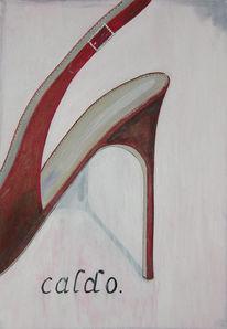 Schuhe, Heel, Rot, Malerei