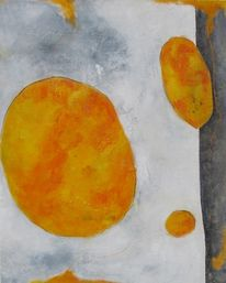 Mischtechnik, Acrylmalerei, Orange, Abstrakt
