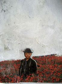 Blumen, Weiß, Rot, Collage