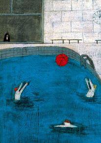Rabe, Allein, Rot, Schwimmbad