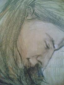 Zeichnung, Kohlezeichnung, Portrait, Pastellmalerei