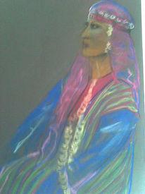Pastellmalerei, Portrait, Iran, Nationaltracht