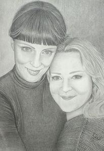 Junge frauen, Portrait, Haare, Zeichnungen