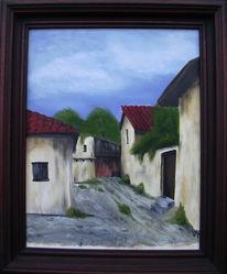 Malerei, Landschaft, Hinterhof