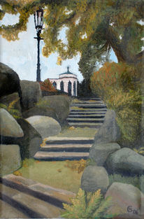 Park, Ölmalerei, Schloss, Treppe