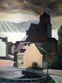 Stadt, Malerei, Ölmalerei, Wolgast