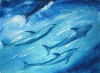 Unterwasser, Delfin, Malerei, Schwarm