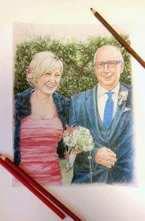 Buntstiftzeichnung, Paar, Portrait, Menschen