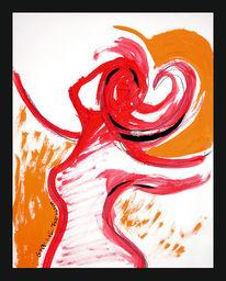 Herz, Wirbelwind, Hexe, Orange