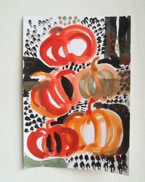 Kürbisse, Orange, Garten, Herbst