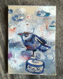 Tiere, Vogel, Blau, Illustrationen