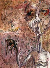 Collage, Gestalt, Tintenfisch, Aquarellmalerei