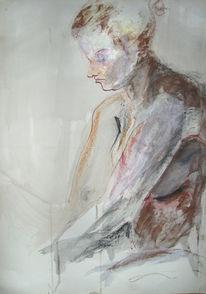 Aquarellmalerei, Frau, Akt, Acrylmalerei