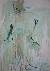 Akt, Kreide, Mann, Aquarellmalerei