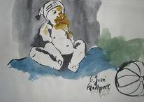 Ball, Aquarellmalerei, Baby, Zeichnung