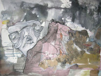 Landschaft, Aquarellmalerei, Gestalt, Collage