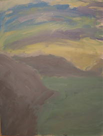 Berge, Landschaft, Abendrot, Acrylmalerei