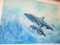 Wasser, Blau, Delfin, Malerei