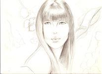 Zeichnungen, Blumen, Frau