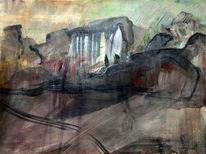 Stein, Malerei abstrakt, Naturgewalt, Mischtechnik