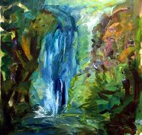 Malerei, Natur, Wasser, Wasserfall