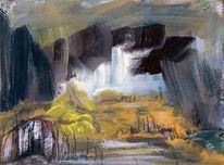 Landschaft, Wasserfall, See, Berge