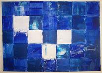 Weiß, Blau, Abstrakt, Quadrat