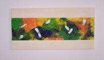 Orange, Acrylmalerei, Pinsel, Blau