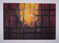 Gelb, Malerei, Acrylmalerei, Feuer