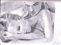 Liebe, Paar, Vertrautheit, Zeichnungen