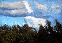 Wolken, Licht, Baum, Malerei