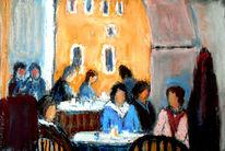 Cafe, Menschen, Pastellmalerei, Tonpapier