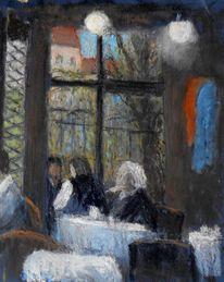 Cafe, Menschen, Malerei