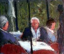 Cafe, Mann, Rosarium, Malerei