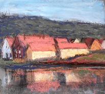 Häuser, Fluss, Spiegelung, Malerei