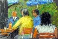 Menschen, Biergarten, Sommer, Malerei