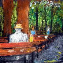 Bier, Garten, Menschen, Malerei