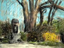 Baum, Park, Skizze, Frühling