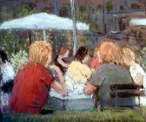 Frau, Cafe, Garten, Malerei