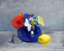 Stein, Vase, Stiefmütterchen, Malerei
