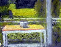 Tisch, Gefäß, Golfplatz, Malerei