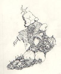 Menschen, Surreal, Tuschmalerei, Zeichnung