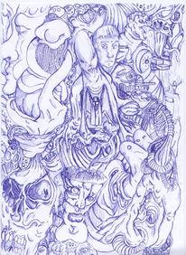 Surrealistisch, Skizze, Chaos, Kugelschreiber