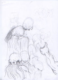 Skizze, Surreal, Bleistiftzeichnung, Zeichnung