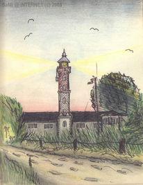 Ostsee, Buntstiftzeichnung, Bleistiftzeichnung, Zeichnungen