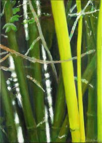Ölmalerei, Bambus, Grün, Gelb