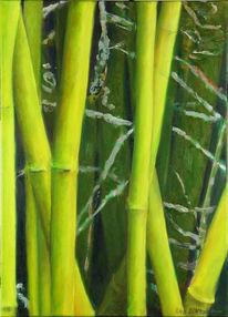 Grün, Gelb, Bambus, Ölmalerei