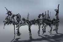 Edelstahl, Buchholz, Skulptur, Laserschnitt