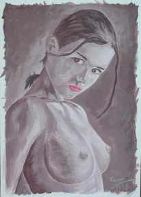 Akt, Acrylmalerei, Fremde, Malerei
