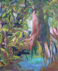 Ölmalerei, Landschaftsmalerei, Malerei, Baumstamm